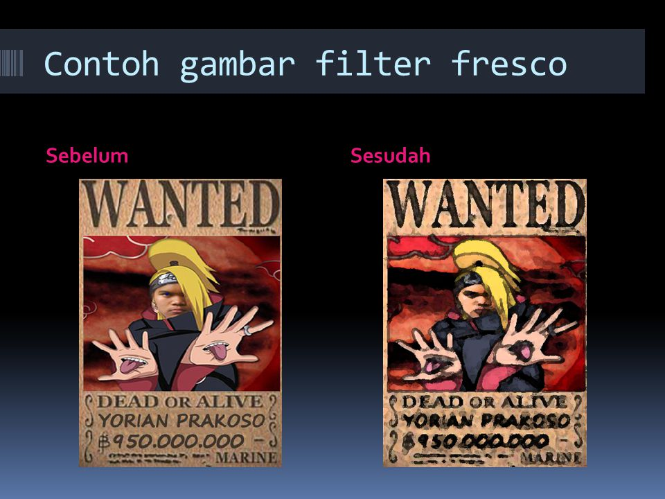 Contoh gambar filter fresco SebelumSesudah