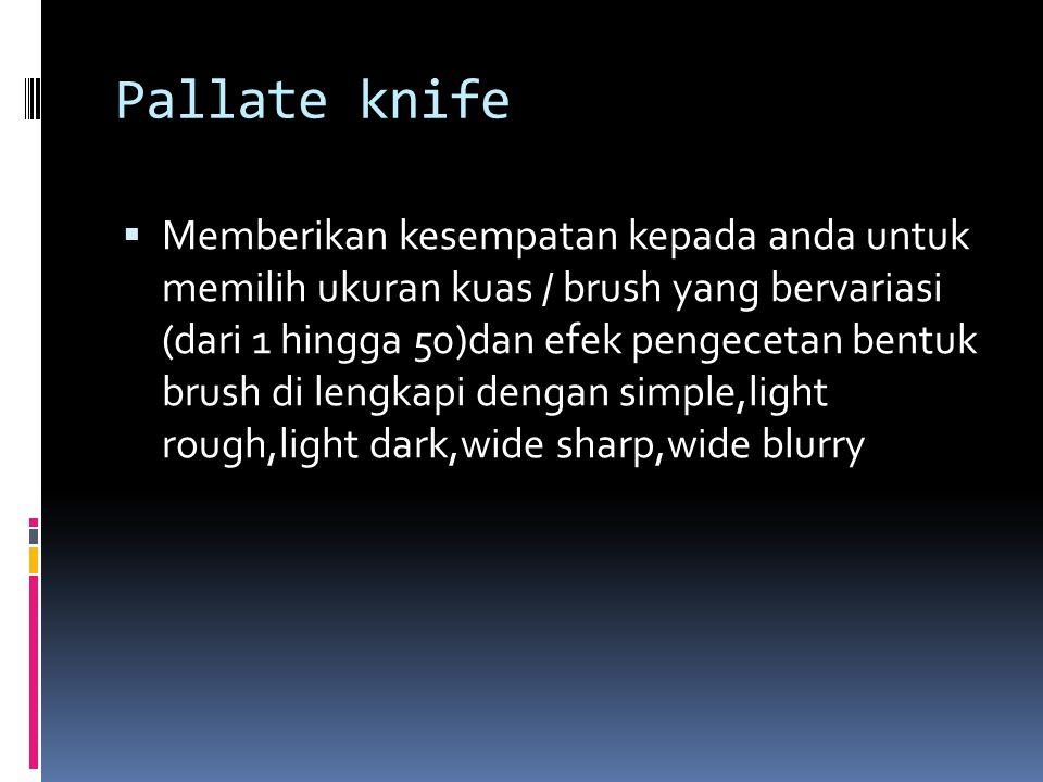 Pallate knife  Memberikan kesempatan kepada anda untuk memilih ukuran kuas / brush yang bervariasi (dari 1 hingga 50)dan efek pengecetan bentuk brush di lengkapi dengan simple,light rough,light dark,wide sharp,wide blurry