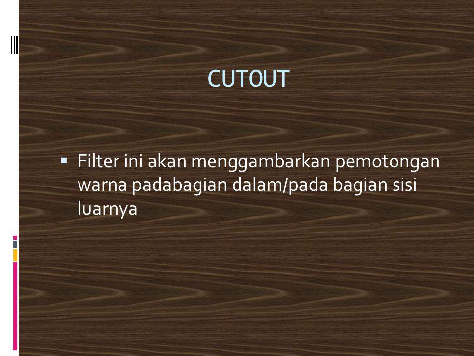 CUTOUT  Filter ini akan menggambarkan pemotongan warna padabagian dalam/pada bagian sisi luarnya