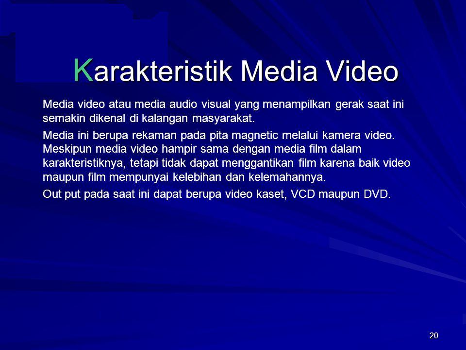 19 K arakteristik Media Slide Tahan lama Guru sebagai nara sumber dan operator Berwarna dan bersuara sehingga menarik Dapat ditampilkan berulang-ulang Kelebihan media slide antara lain.