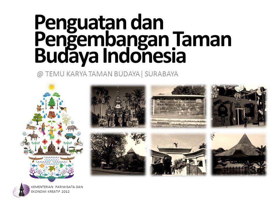 Penguatan dan Pengembangan Taman Budaya Indonesia KEMENTERIAN PARIWISATA DAN EKONOMI KREATIF 2012 @ TEMU KARYA TAMAN BUDAYA| SURABAYA
