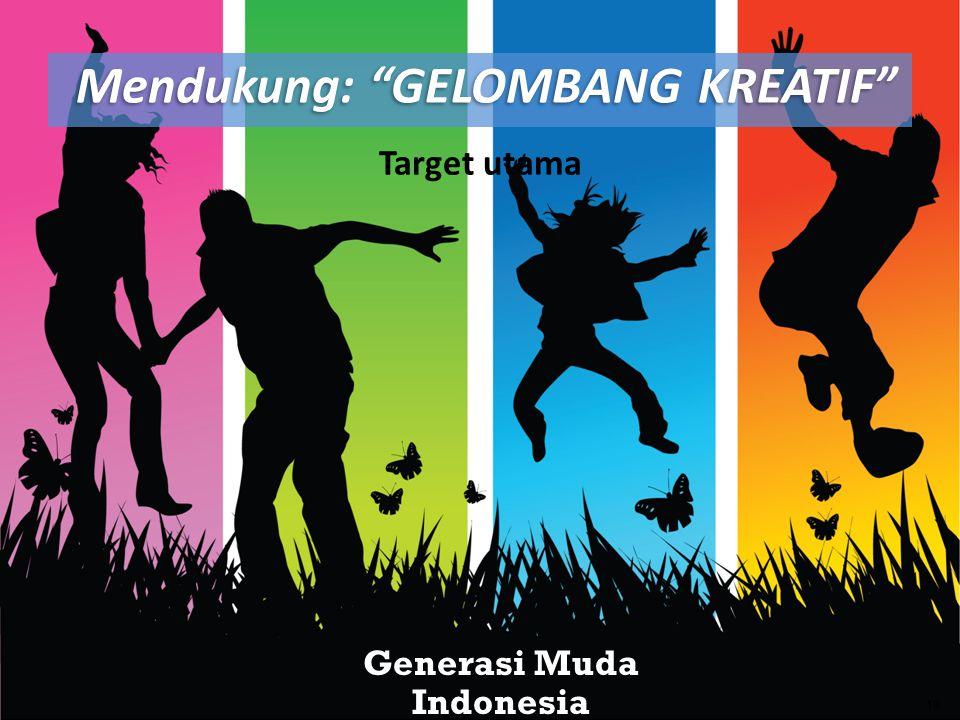 Target utama Generasi Muda Indonesia 19 Mendukung: GELOMBANG KREATIF Mendukung: GELOMBANG KREATIF