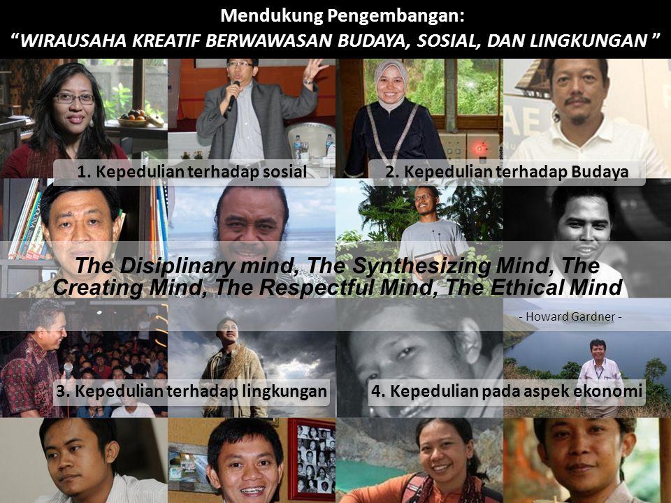 Mendukung Pengembangan: WIRAUSAHA KREATIF BERWAWASAN BUDAYA, SOSIAL, DAN LINGKUNGAN The Disiplinary mind, The Synthesizing Mind, The Creating Mind, The Respectful Mind, The Ethical Mind 1.