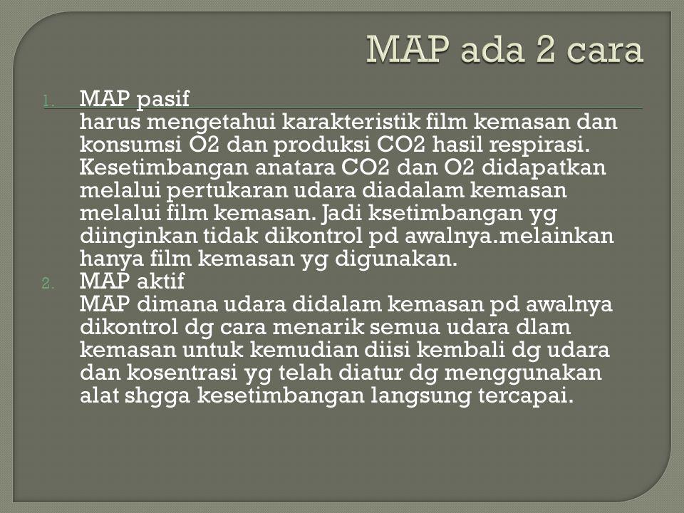 1. MAP pasif harus mengetahui karakteristik film kemasan dan konsumsi O2 dan produksi CO2 hasil respirasi. Kesetimbangan anatara CO2 dan O2 didapatkan