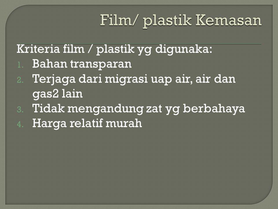 Kriteria film / plastik yg digunaka: 1. Bahan transparan 2. Terjaga dari migrasi uap air, air dan gas2 lain 3. Tidak mengandung zat yg berbahaya 4. Ha