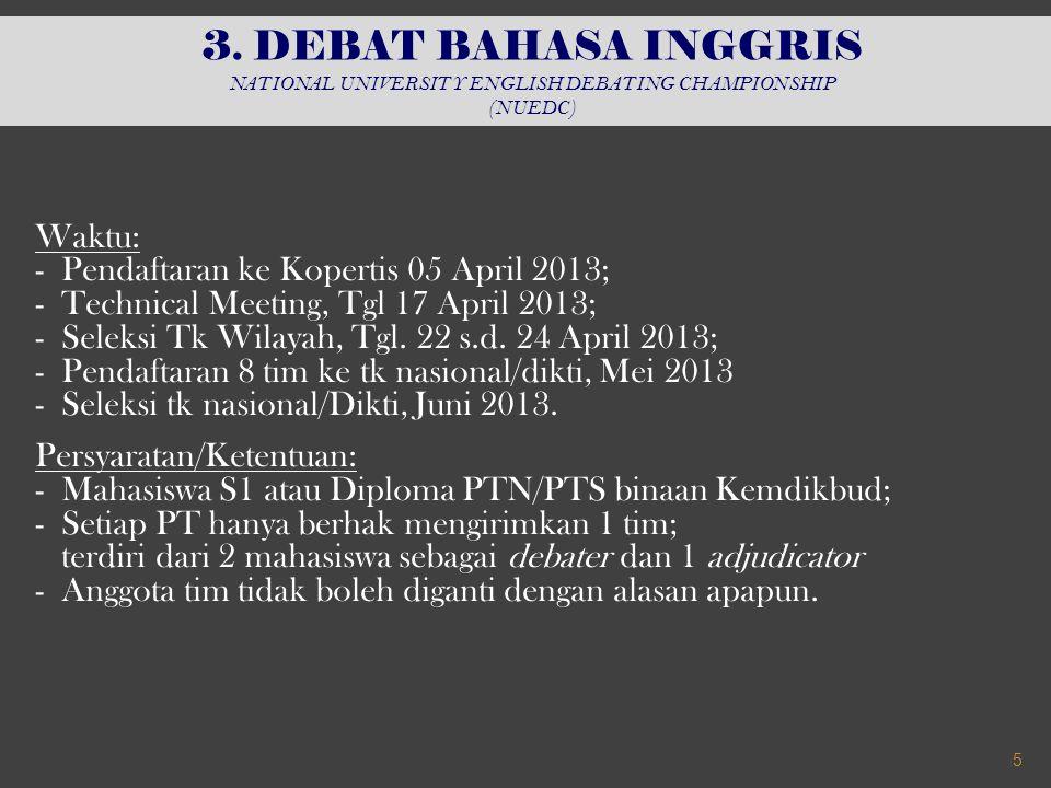 Waktu: - Seleksi awal, Agustus 2013; - Penentuan finalis, awal September 2013; - Seleksi akhir (pentas); 07 s.d.