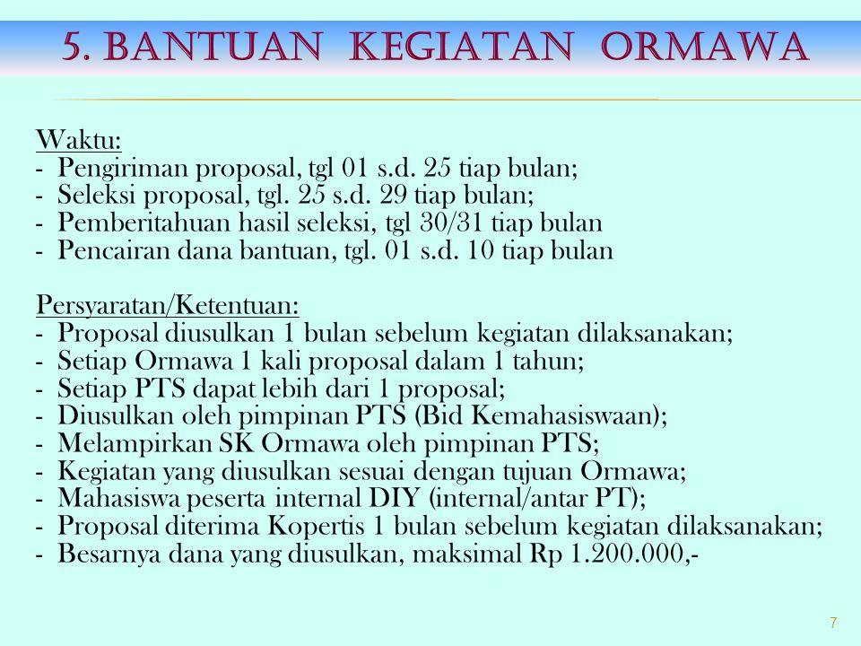 Waktu: - Proposal diterima Kopertis, tgl 6 Mei 2013; - Presentasi usaha, tgl 13 s.d.
