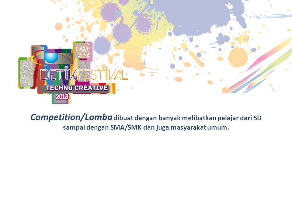 Competition/Lomba dibuat dengan banyak melibatkan pelajar dari SD sampai dengan SMA/SMK dan juga masyarakat umum.