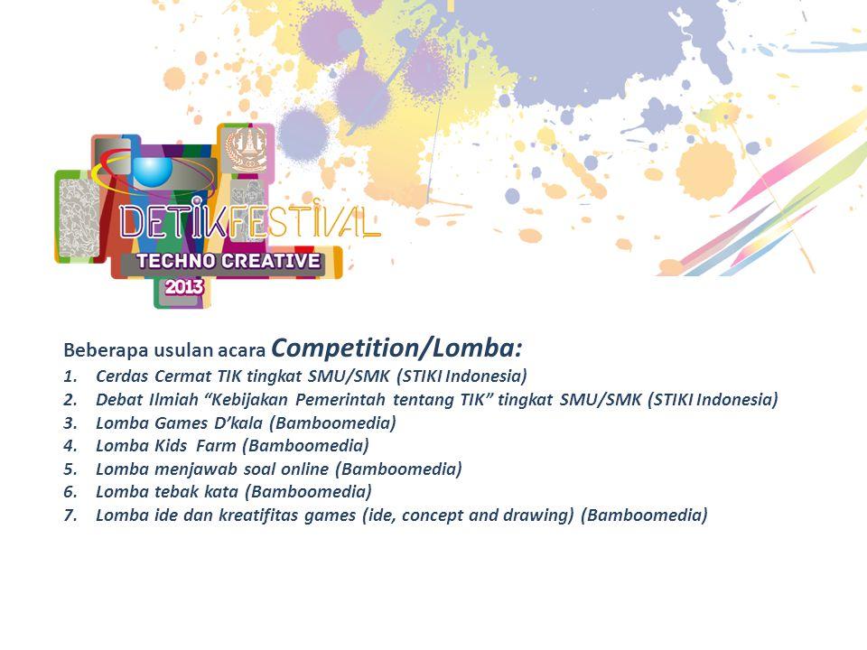 """Beberapa usulan acara Competition/Lomba: 1.Cerdas Cermat TIK tingkat SMU/SMK (STIKI Indonesia) 2.Debat Ilmiah """"Kebijakan Pemerintah tentang TIK"""" tingk"""