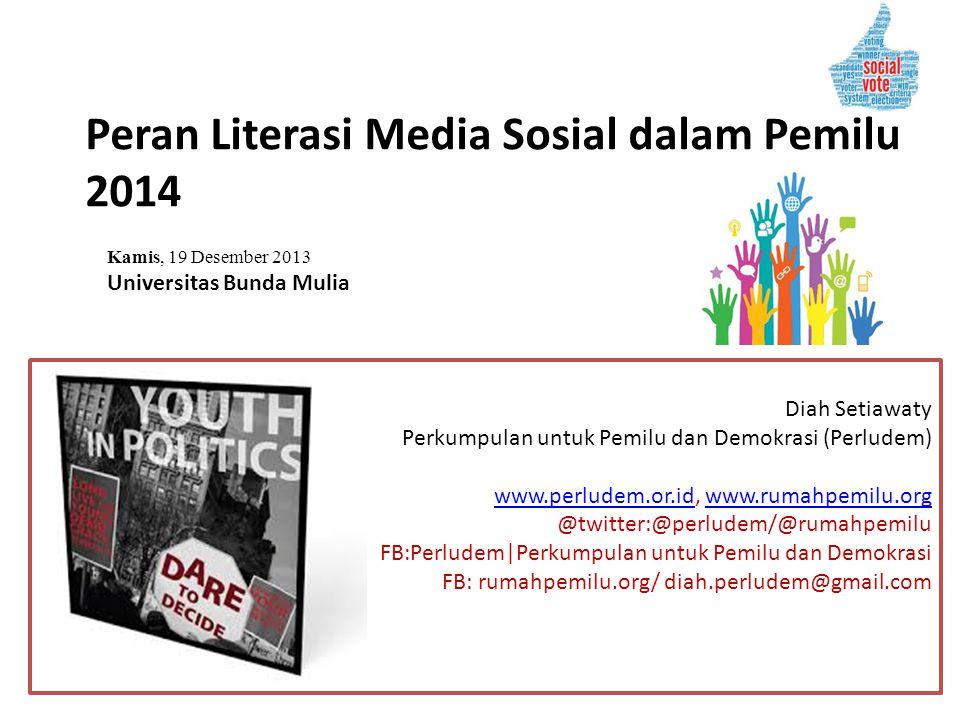 Peran Literasi Media Sosial dalam Pemilu 2014 Diah Setiawaty Perkumpulan untuk Pemilu dan Demokrasi (Perludem) www.perludem.or.idwww.perludem.or.id, w