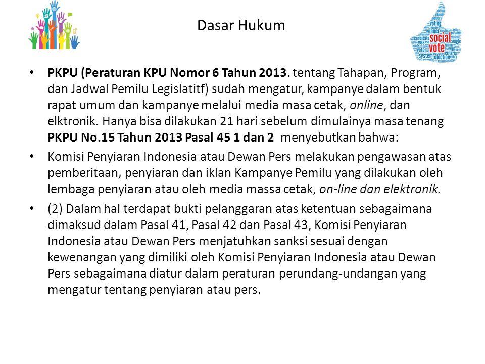 Dasar Hukum • PKPU (Peraturan KPU Nomor 6 Tahun 2013. tentang Tahapan, Program, dan Jadwal Pemilu Legislatitf) sudah mengatur, kampanye dalam bentuk r