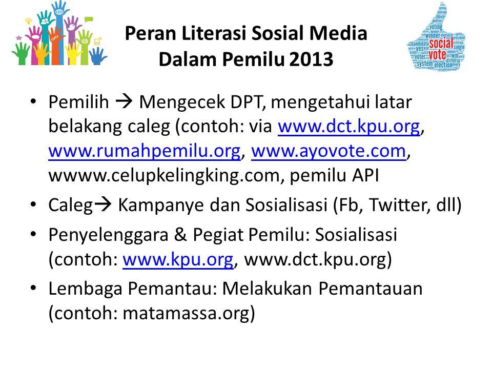 • Pemilih  Mengecek DPT, mengetahui latar belakang caleg (contoh: via www.dct.kpu.org, www.rumahpemilu.org, www.ayovote.com, wwww.celupkelingking.com