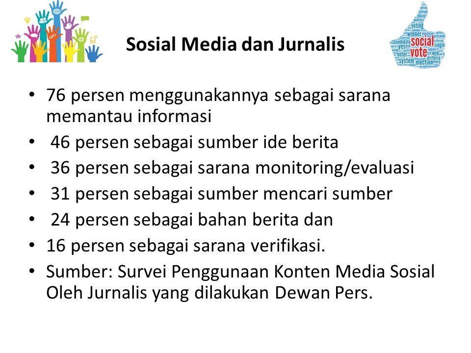 • 76 persen menggunakannya sebagai sarana memantau informasi • 46 persen sebagai sumber ide berita • 36 persen sebagai sarana monitoring/evaluasi • 31