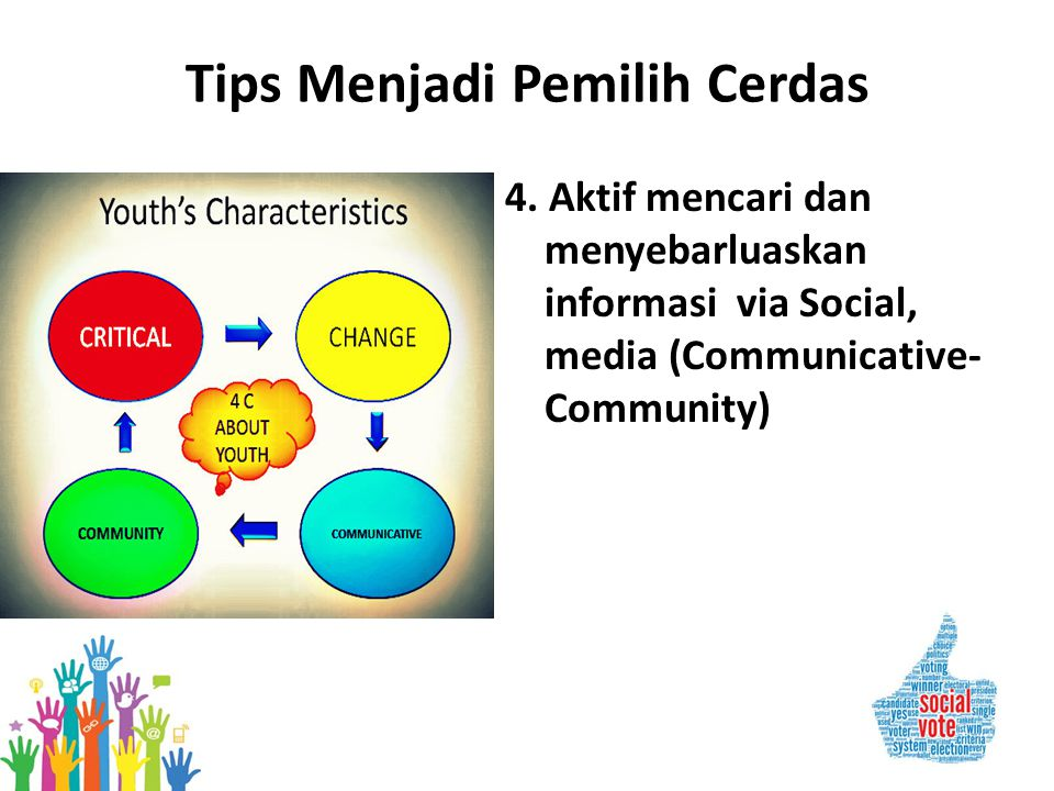 Tips Menjadi Pemilih Cerdas 4. Aktif mencari dan menyebarluaskan informasi via Social, media (Communicative- Community)
