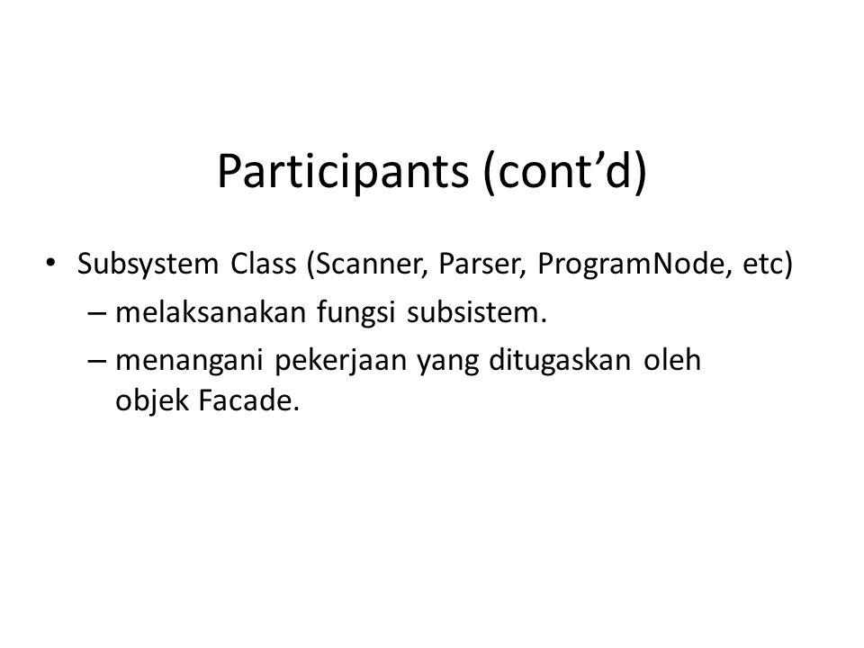 Participants (cont'd) • Subsystem Class (Scanner, Parser, ProgramNode, etc) – melaksanakan fungsi subsistem. – menangani pekerjaan yang ditugaskan ole