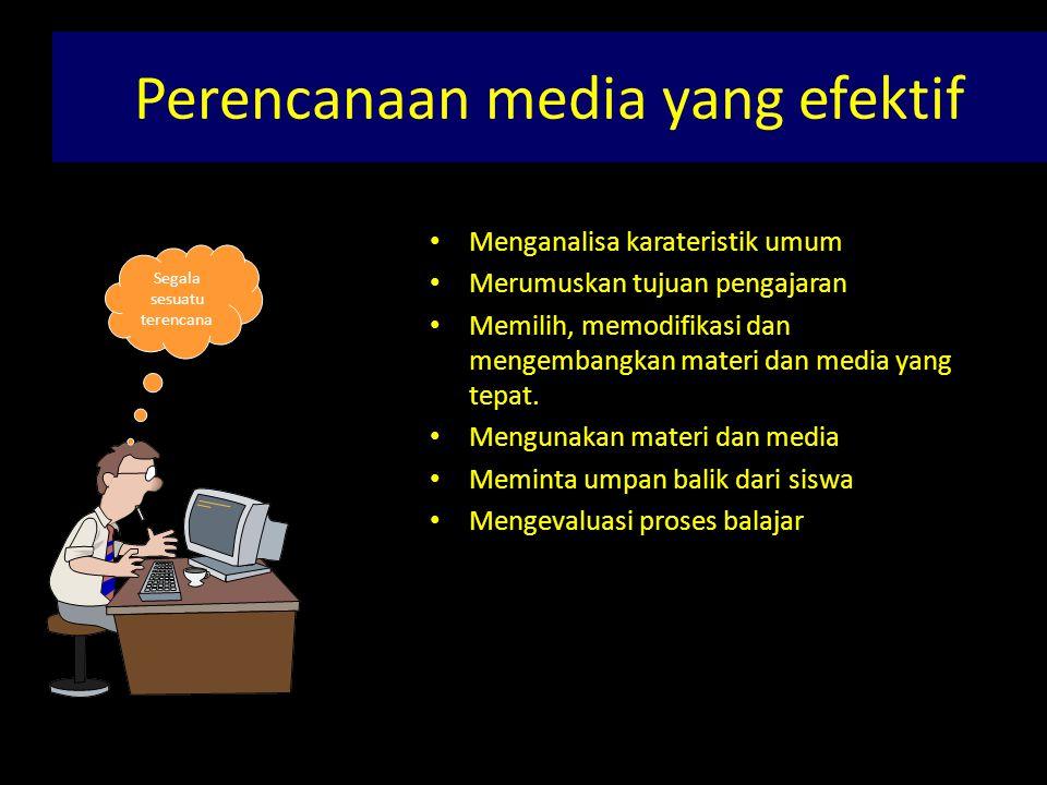 Pertimbangan PEMILIHAN MEDIA • TUJUAN PEMBELAJARAN • KEEFEKTIFAN • PESERTA DIDIK • KETERSEDIAAN • KUALITAS TEKNIS • BIAYA • FLEKSIBILITAS • KENYAMANAN