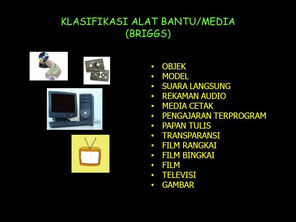 KLASIFIKASI ALAT BANTU/MEDIA (BRIGGS) • OBJEK • MODEL • SUARA LANGSUNG • REKAMAN AUDIO • MEDIA CETAK • PENGAJARAN TERPROGRAM • PAPAN TULIS • TRANSPARANSI • FILM RANGKAI • FILM BINGKAI • FILM • TELEVISI • GAMBAR