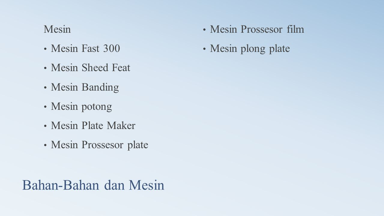 Bahan-Bahan dan Mesin Mesin • Mesin Fast 300 • Mesin Sheed Feat • Mesin Banding • Mesin potong • Mesin Plate Maker • Mesin Prossesor plate • Mesin Prossesor film • Mesin plong plate