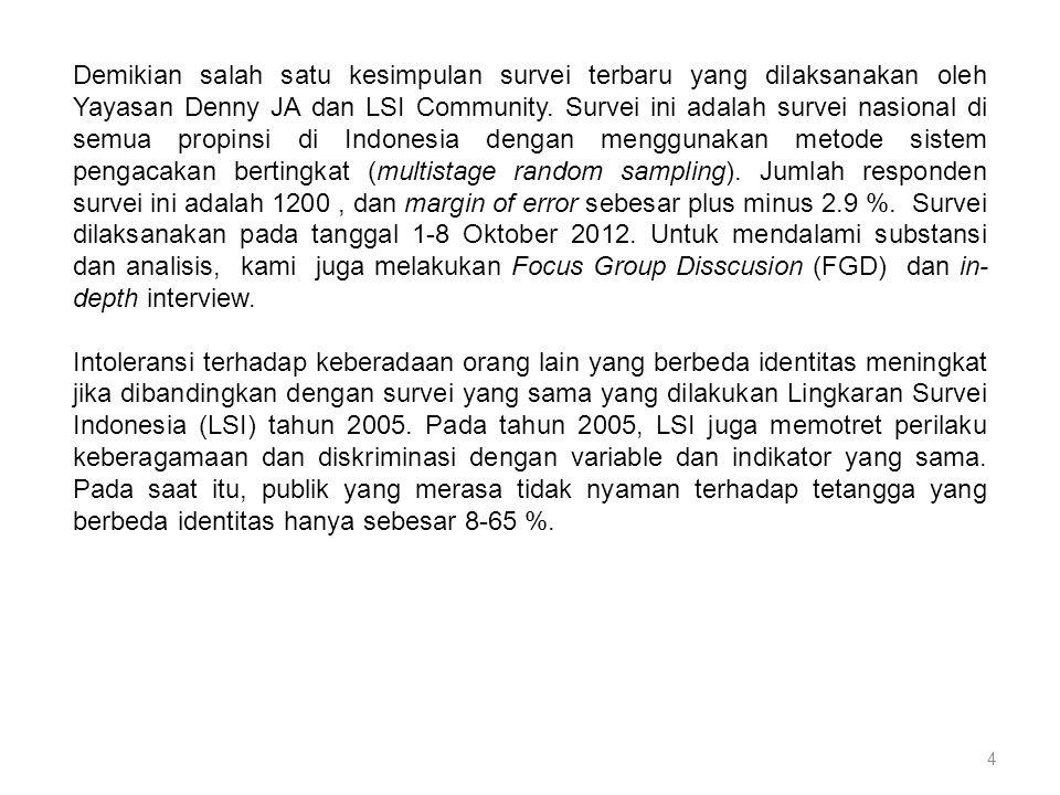 4 Demikian salah satu kesimpulan survei terbaru yang dilaksanakan oleh Yayasan Denny JA dan LSI Community.