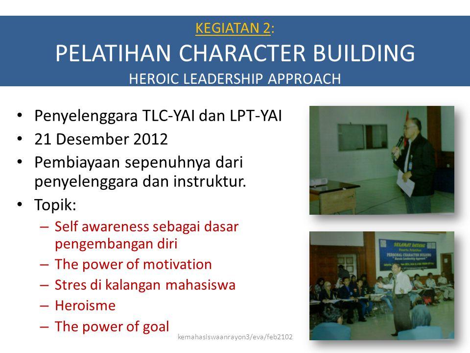 KEGIATAN 2: PELATIHAN CHARACTER BUILDING HEROIC LEADERSHIP APPROACH • Penyelenggara TLC-YAI dan LPT-YAI • 21 Desember 2012 • Pembiayaan sepenuhnya dar