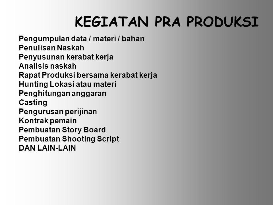 Pra Produksi Adalah tahap persiapan sebelum dilaksanakan kegiatan produksi / shooting Keberhasilan dari produksi program audio visual sangat ditentuka