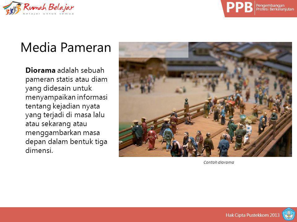 PPB Pengembangan Profesi Berkelanjutan Hak Cipta Pustekkom 2013 Diorama adalah sebuah pameran statis atau diam yang didesain untuk menyampaikan inform