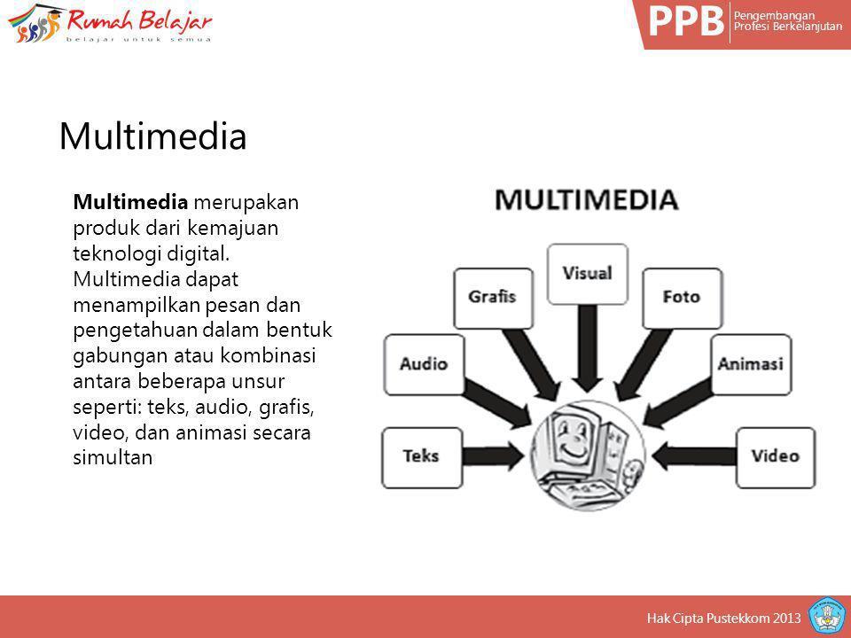 PPB Pengembangan Profesi Berkelanjutan Hak Cipta Pustekkom 2013 Multimedia merupakan produk dari kemajuan teknologi digital. Multimedia dapat menampil