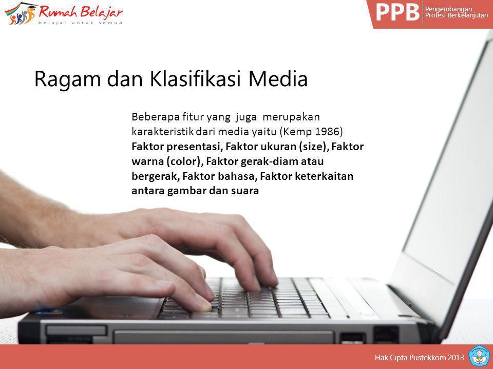 PPB Pengembangan Profesi Berkelanjutan Hak Cipta Pustekkom 2013 Beberapa fitur yang juga merupakan karakteristik dari media yaitu (Kemp 1986) Faktor p