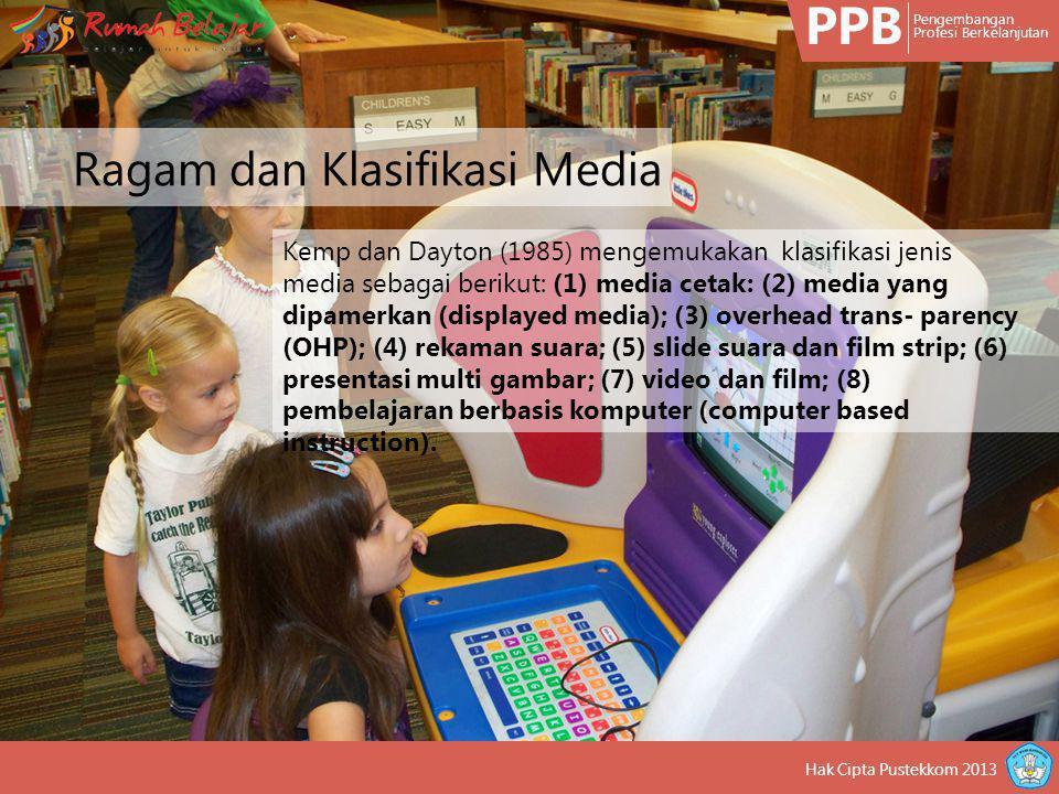 PPB Pengembangan Profesi Berkelanjutan Hak Cipta Pustekkom 2013 Heinich dan kawan-kawan (2005) mengemukakan beberapa jenis media pembelajaran yang dapat digunakan oleh guru, instruktur, dan perancang ptogram pembelajaran yaitu: (1) media cetak/teks; (2) media pameran/display; (3) media audio; (4) gambar bergerak/motion pictures; (5) multimedia; (6) media berbasis web atau internet Ragam dan Klasifikasi Media