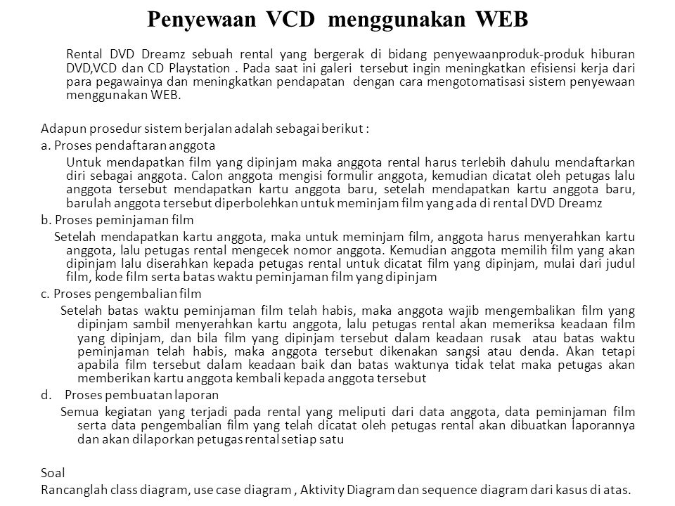 Penyewaan VCD menggunakan WEB Rental DVD Dreamz sebuah rental yang bergerak di bidang penyewaanproduk-produk hiburan DVD,VCD dan CD Playstation. Pada