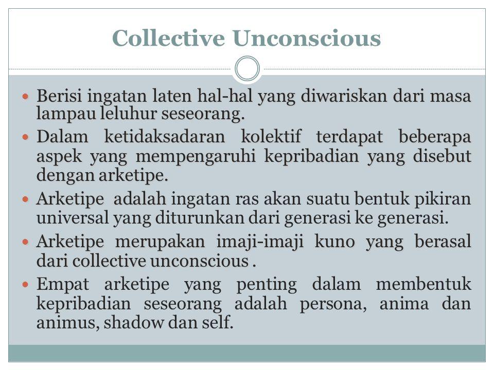 Collective Unconscious  Berisi ingatan laten hal-hal yang diwariskan dari masa lampau leluhur seseorang.