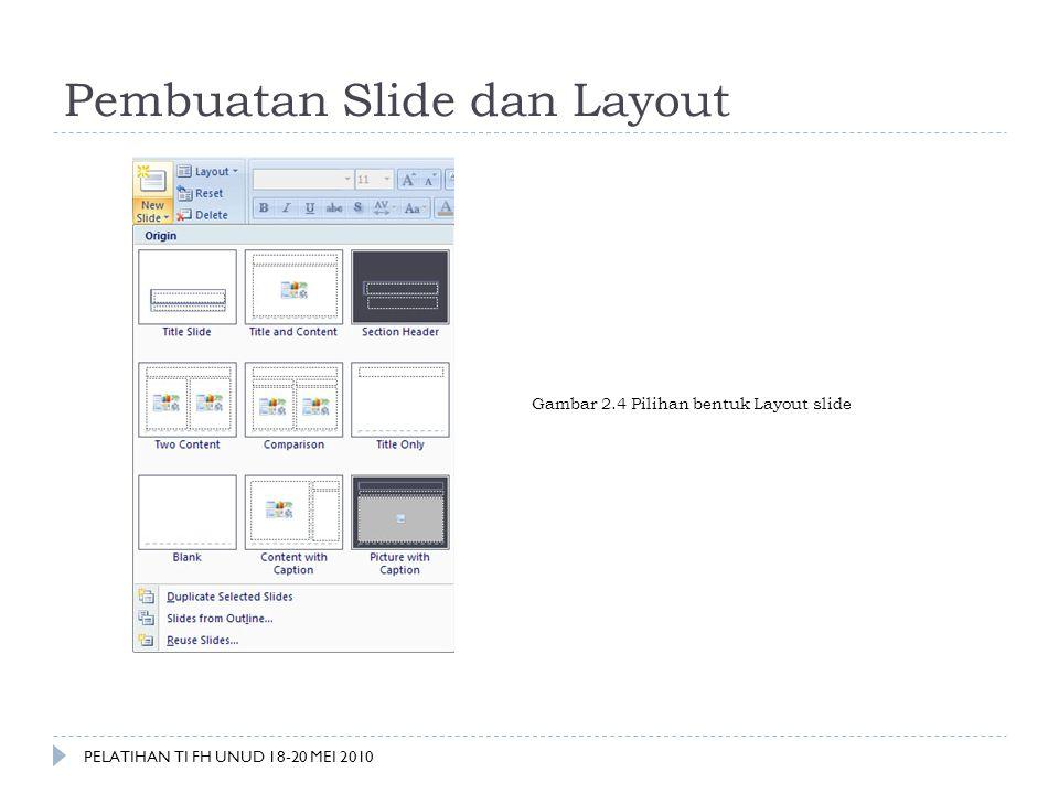 Pembuatan Slide dan Layout Gambar 2.4 Pilihan bentuk Layout slide PELATIHAN TI FH UNUD 18-20 MEI 2010