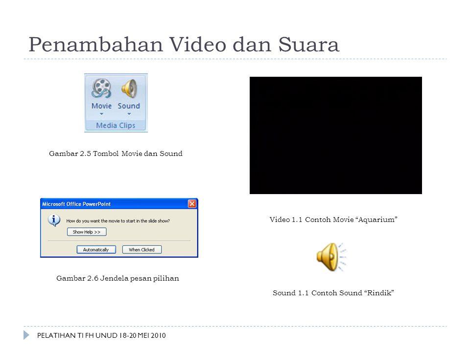"Penambahan Video dan Suara Gambar 2.5 Tombol Movie dan Sound Gambar 2.6 Jendela pesan pilihan Video 1.1 Contoh Movie ""Aquarium"" Sound 1.1 Contoh Sound"