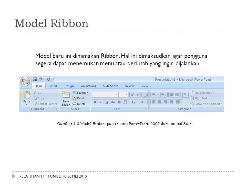 Model Ribbon Model baru ini dinamakan Ribbon. Hal ini dimaksudkan agar pengguna segera dapat menemukan menu atau perintah yang ingin dijalankan Gambar