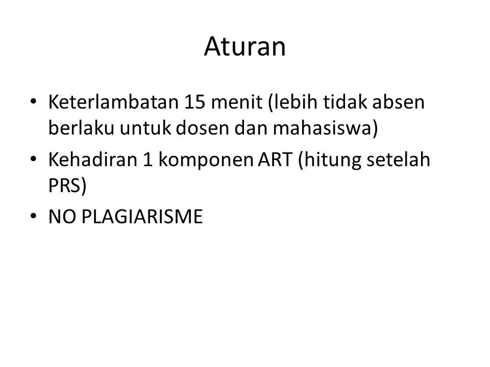 Aturan • Keterlambatan 15 menit (lebih tidak absen berlaku untuk dosen dan mahasiswa) • Kehadiran 1 komponen ART (hitung setelah PRS) • NO PLAGIARISME