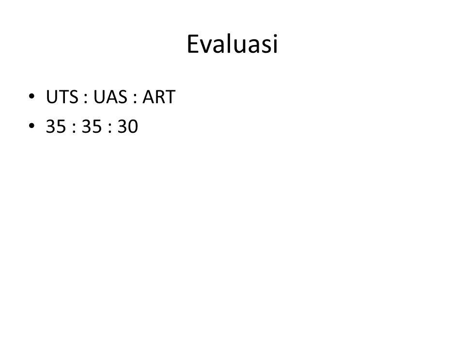 Evaluasi • UTS : UAS : ART • 35 : 35 : 30
