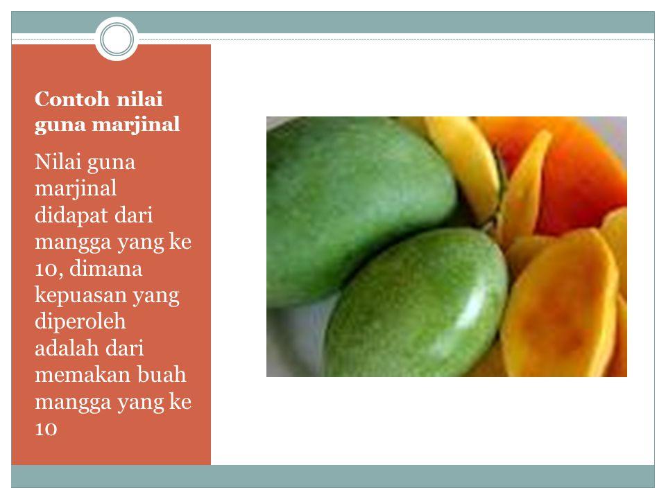 Contoh nilai guna marjinal Nilai guna marjinal didapat dari mangga yang ke 10, dimana kepuasan yang diperoleh adalah dari memakan buah mangga yang ke