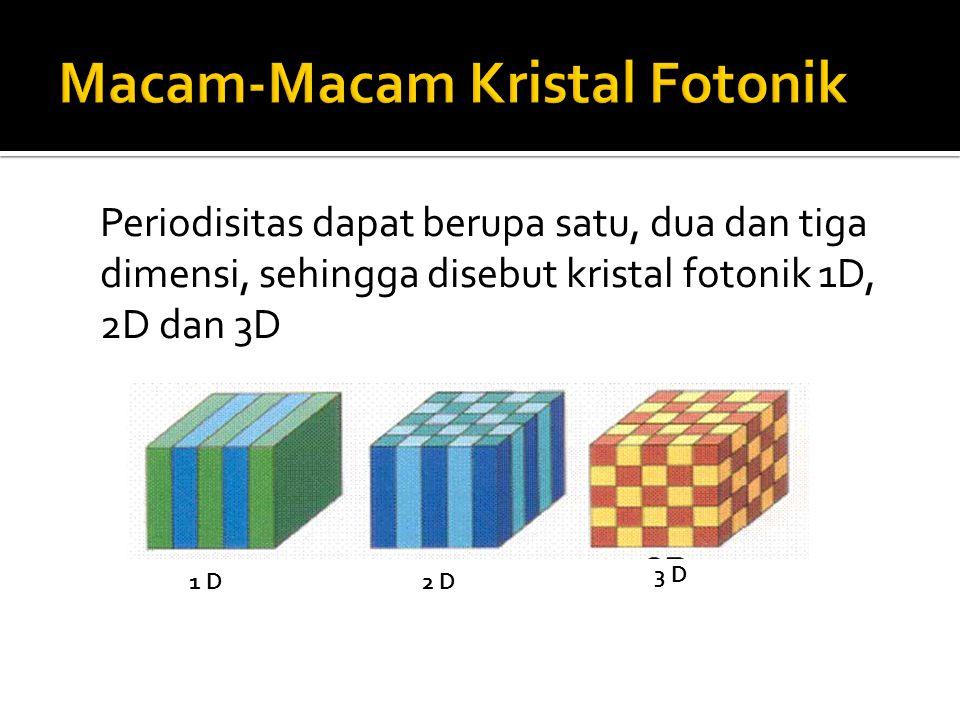 Periodisitas dapat berupa satu, dua dan tiga dimensi, sehingga disebut kristal fotonik 1D, 2D dan 3D 1 D2 D 3 D