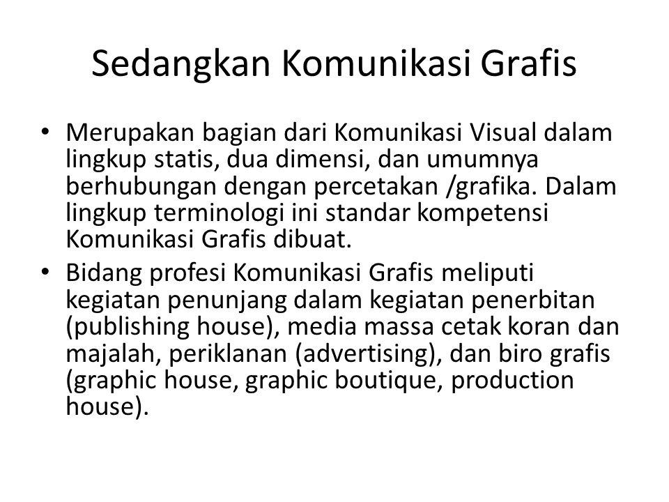 Sedangkan Komunikasi Grafis • Merupakan bagian dari Komunikasi Visual dalam lingkup statis, dua dimensi, dan umumnya berhubungan dengan percetakan /gr