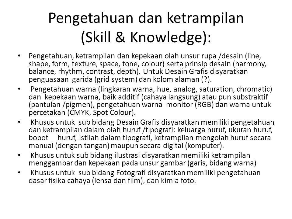 Pengetahuan dan ketrampilan (Skill & Knowledge): • Pengetahuan, ketrampilan dan kepekaan olah unsur rupa /desain (line, shape, form, texture, space, t