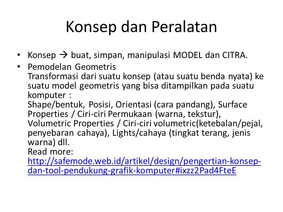 Konsep dan Peralatan • Konsep  buat, simpan, manipulasi MODEL dan CITRA. • Pemodelan Geometris Transformasi dari suatu konsep (atau suatu benda nyata