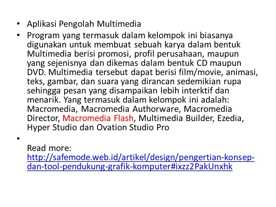 • Aplikasi Pengolah Multimedia • Program yang termasuk dalam kelompok ini biasanya digunakan untuk membuat sebuah karya dalam bentuk Multimedia berisi