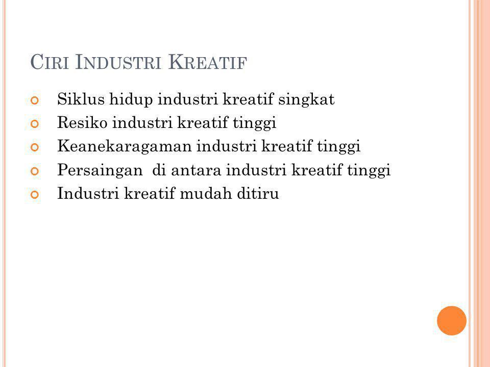 C IRI I NDUSTRI K REATIF Siklus hidup industri kreatif singkat Resiko industri kreatif tinggi Keanekaragaman industri kreatif tinggi Persaingan di antara industri kreatif tinggi Industri kreatif mudah ditiru
