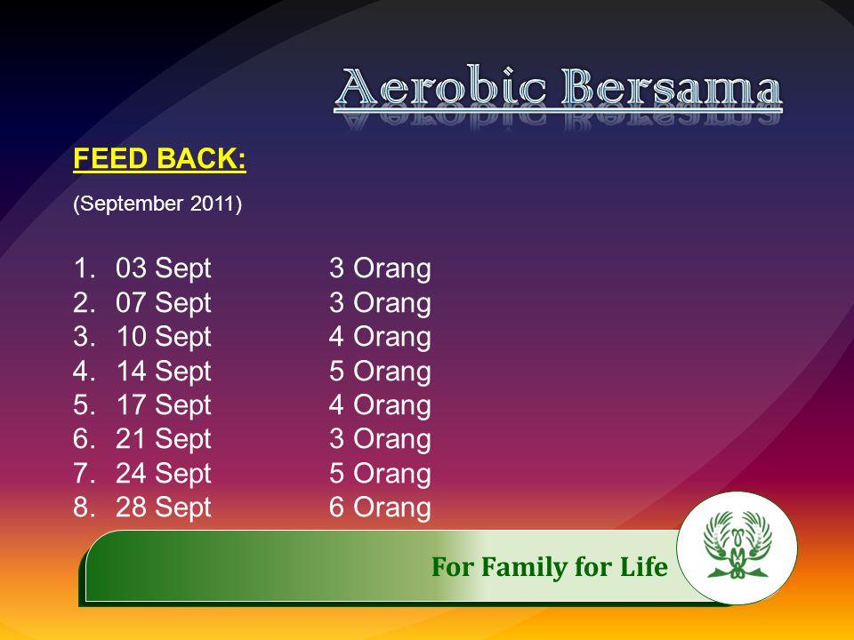 .……………..…………… For Family for Life FEED BACK: (September 2011) 1.03 Sept3 Orang 2.07 Sept3 Orang 3.10 Sept4 Orang 4.14 Sept5 Orang 5.17 Sept4 Orang 6.2