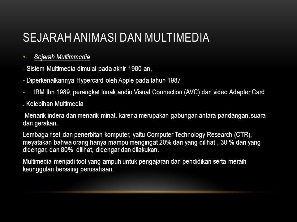 SEJARAH ANIMASI DAN MULTIMEDIA • Sejarah Multimmedia - Sistem Multimedia dimulai pada akhir 1980-an, - Diperkenalkannya Hypercard oleh Apple pada tahu