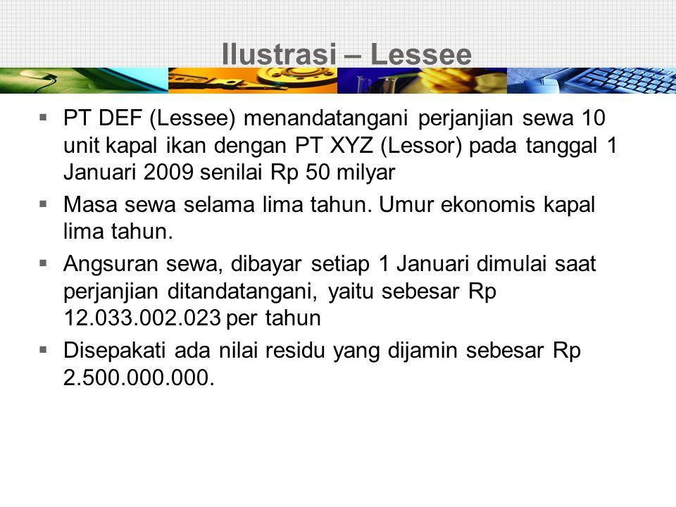 Ilustrasi – Lessee  PT DEF (Lessee) menandatangani perjanjian sewa 10 unit kapal ikan dengan PT XYZ (Lessor) pada tanggal 1 Januari 2009 senilai Rp 5