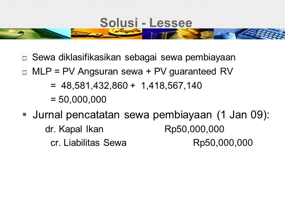 Solusi - Lessee  Sewa diklasifikasikan sebagai sewa pembiayaan  MLP = PV Angsuran sewa + PV guaranteed RV = 48,581,432,860 + 1,418,567,140 = 50,000,