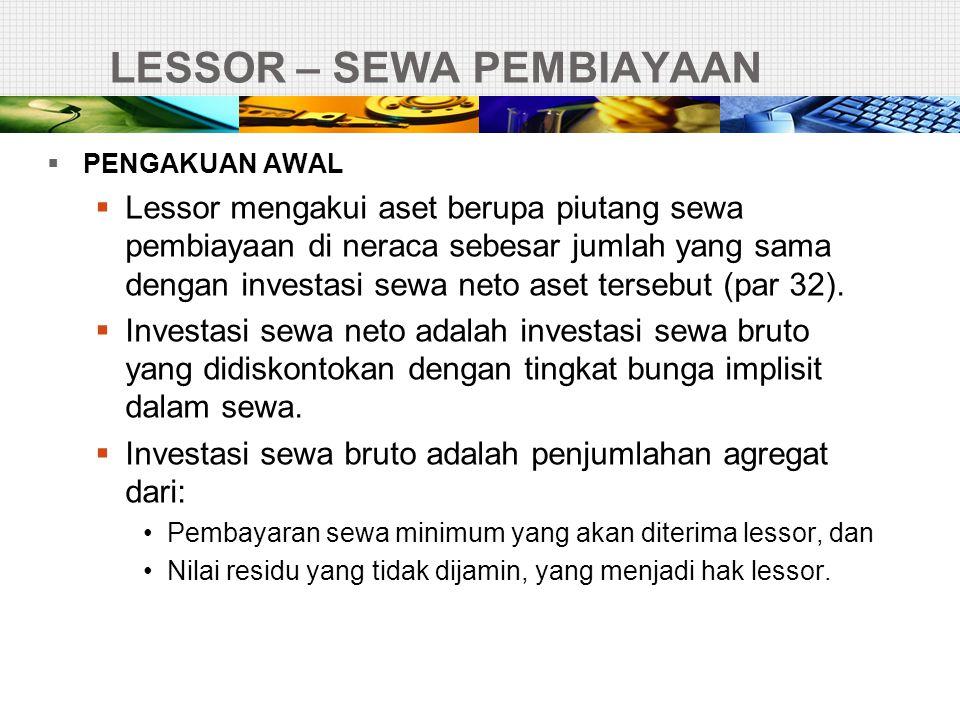LESSOR – SEWA PEMBIAYAAN  PENGAKUAN AWAL  Lessor mengakui aset berupa piutang sewa pembiayaan di neraca sebesar jumlah yang sama dengan investasi se