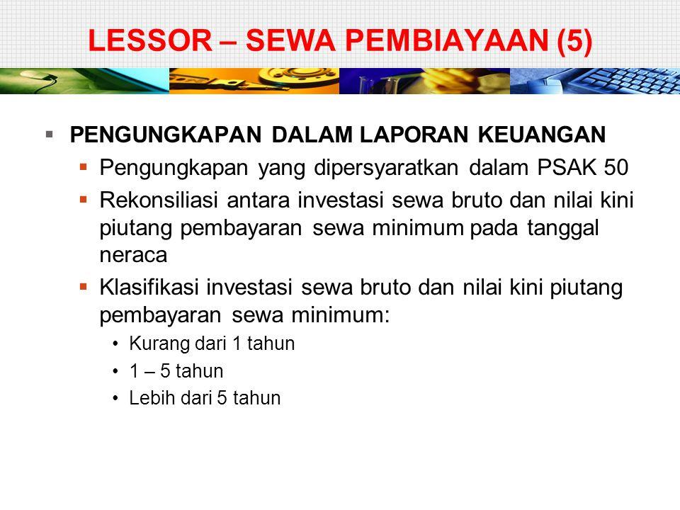 LESSOR – SEWA PEMBIAYAAN (5)  PENGUNGKAPAN DALAM LAPORAN KEUANGAN  Pengungkapan yang dipersyaratkan dalam PSAK 50  Rekonsiliasi antara investasi se