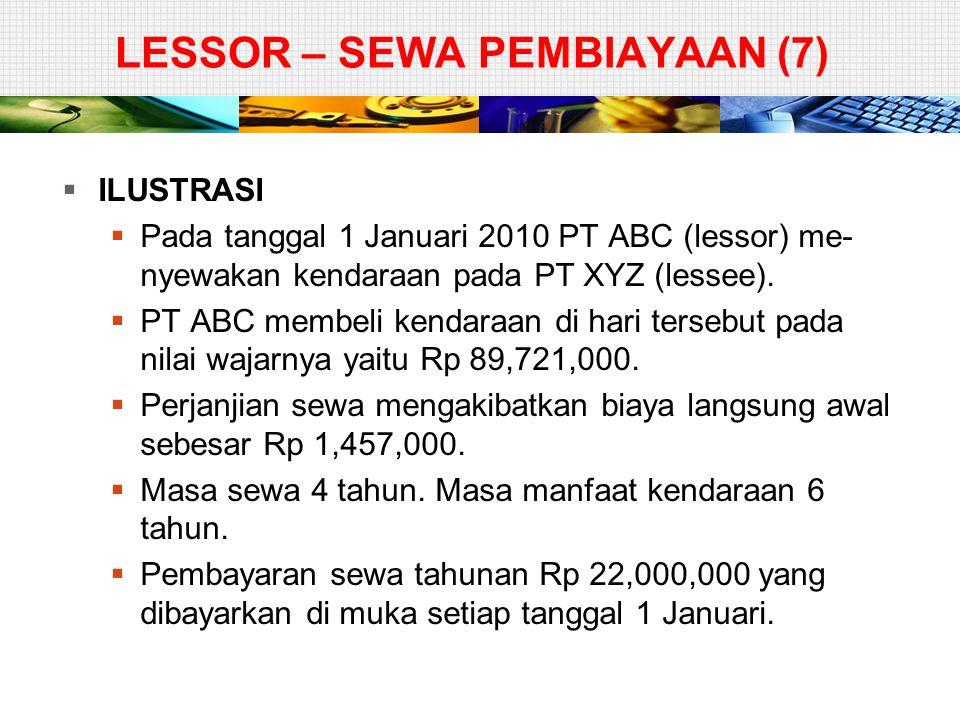 LESSOR – SEWA PEMBIAYAAN (7)  ILUSTRASI  Pada tanggal 1 Januari 2010 PT ABC (lessor) me- nyewakan kendaraan pada PT XYZ (lessee).  PT ABC membeli k